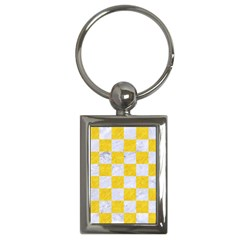 Square1 White Marble & Yellow Colored Pencil Key Chains (rectangle)  by trendistuff