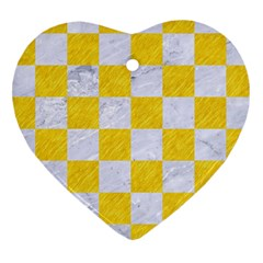 Square1 White Marble & Yellow Colored Pencil Heart Ornament (two Sides) by trendistuff