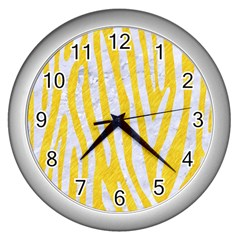 Skin4 White Marble & Yellow Colored Pencil (r) Wall Clocks (silver)  by trendistuff