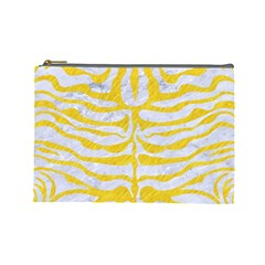 Skin2 White Marble & Yellow Colored Pencil (r) Cosmetic Bag (large)  by trendistuff