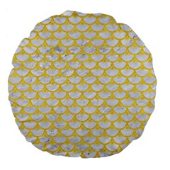 Scales3 White Marble & Yellow Colored Pencil (r) Large 18  Premium Flano Round Cushions by trendistuff