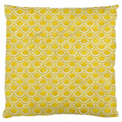 Scales2 White Marble & Yellow Colored Pencil Large Flano Cushion Case (two Sides) by trendistuff