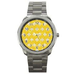 Royal1 White Marble & Yellow Colored Pencil (r) Sport Metal Watch by trendistuff
