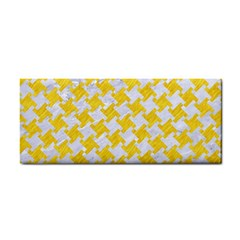 Houndstooth2 White Marble & Yellow Colored Pencil Cosmetic Storage Cases by trendistuff