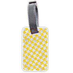 Houndstooth2 White Marble & Yellow Colored Pencil Luggage Tags (one Side)  by trendistuff