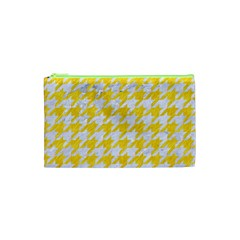 Houndstooth1 White Marble & Yellow Colored Pencil Cosmetic Bag (xs) by trendistuff