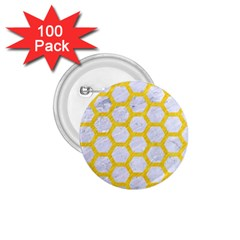 Hexagon2 White Marble & Yellow Colored Pencil (r) 1 75  Buttons (100 Pack)  by trendistuff
