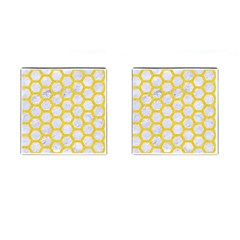 Hexagon2 White Marble & Yellow Colored Pencil (r) Cufflinks (square) by trendistuff