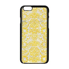 Damask2 White Marble & Yellow Colored Pencil (r) Apple Iphone 6/6s Black Enamel Case by trendistuff