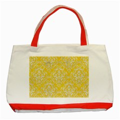 Damask1 White Marble & Yellow Colored Pencil Classic Tote Bag (red) by trendistuff