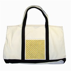 Circles3 White Marble & Yellow Colored Pencil Two Tone Tote Bag by trendistuff