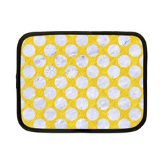 Circles2 White Marble & Yellow Colored Pencil Netbook Case (small)  by trendistuff