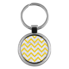 Chevron9 White Marble & Yellow Colored Pencil (r) Key Chains (round)  by trendistuff
