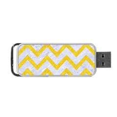 Chevron9 White Marble & Yellow Colored Pencil (r) Portable Usb Flash (two Sides) by trendistuff