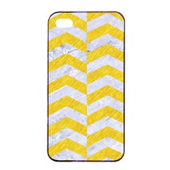 Chevron2 White Marble & Yellow Colored Pencil Apple Iphone 4/4s Seamless Case (black) by trendistuff