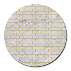 Brick1 White Marble & Yellow Colored Pencil (r) Round Mousepads by trendistuff