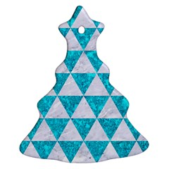Triangle3 White Marble & Turquoise Marble Ornament (christmas Tree)  by trendistuff