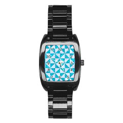 Triangle1 White Marble & Turquoise Marble Stainless Steel Barrel Watch by trendistuff