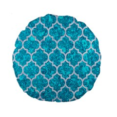 Tile1 White Marble & Turquoise Marble Standard 15  Premium Round Cushions by trendistuff