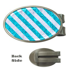 Stripes3 White Marble & Turquoise Marble Money Clips (oval)  by trendistuff