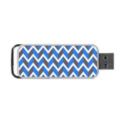 Zigzag Chevron Pattern Blue Grey Portable Usb Flash (one Side)