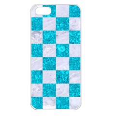 Square1 White Marble & Turquoise Marble Apple Iphone 5 Seamless Case (white) by trendistuff