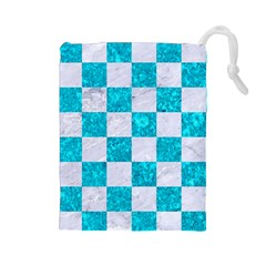 Square1 White Marble & Turquoise Marble Drawstring Pouches (large)  by trendistuff