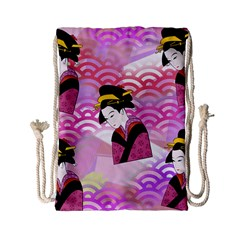 Japanese Abstract Pink Drawstring Bag (small) by snowwhitegirl
