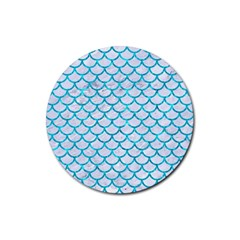 Scales1 White Marble & Turquoise Marble (r) Rubber Round Coaster (4 Pack)  by trendistuff