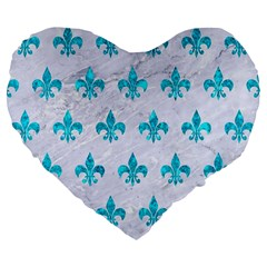 Royal1 White Marble & Turquoise Marble Large 19  Premium Flano Heart Shape Cushions by trendistuff