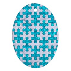 Puzzle1 White Marble & Turquoise Marble Oval Ornament (two Sides) by trendistuff