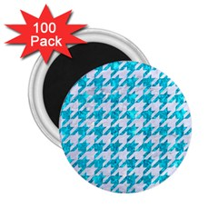 Houndstooth1 White Marble & Turquoise Marble 2 25  Magnets (100 Pack)  by trendistuff