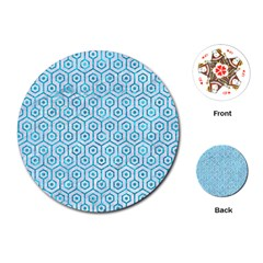 Hexagon1 White Marble & Turquoise Marble (r) Playing Cards (round)  by trendistuff