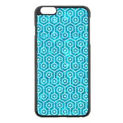 Hexagon1 White Marble & Turquoise Marble Apple Iphone 6 Plus/6s Plus Black Enamel Case by trendistuff