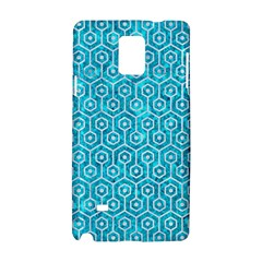 Hexagon1 White Marble & Turquoise Marble Samsung Galaxy Note 4 Hardshell Case by trendistuff