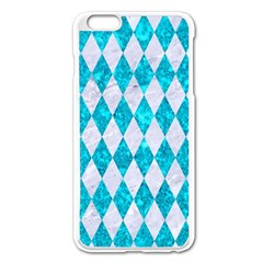 Diamond1 White Marble & Turquoise Marble Apple Iphone 6 Plus/6s Plus Enamel White Case by trendistuff