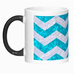 Chevron3 White Marble & Turquoise Marble Morph Mugs by trendistuff
