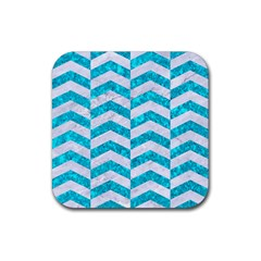 Chevron2 White Marble & Turquoise Marble Rubber Square Coaster (4 Pack)  by trendistuff