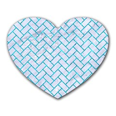 Brick2 White Marble & Turquoise Marble (r) Heart Mousepads by trendistuff