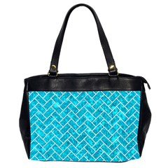 Brick2 White Marble & Turquoise Marble Office Handbags (2 Sides)  by trendistuff
