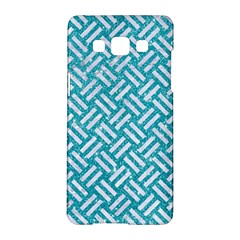 Woven2 White Marble & Turquoise Glitter Samsung Galaxy A5 Hardshell Case  by trendistuff