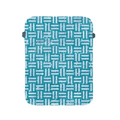 Woven1 White Marble & Turquoise Glitter Apple Ipad 2/3/4 Protective Soft Cases by trendistuff