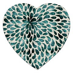 Teal Abstract Swirl Drops Jigsaw Puzzle (heart) by vintage2030