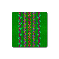 Roses Climbing To The Sun With Grace And Honor Square Magnet by pepitasart