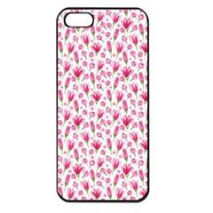 Watercolor Spring Flowers Pattern Apple Iphone 5 Seamless Case (black) by TastefulDesigns