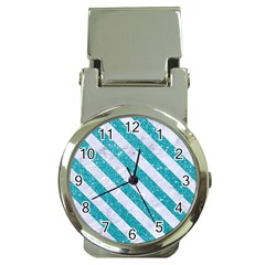 Stripes3 White Marble & Turquoise Glitter Money Clip Watches by trendistuff