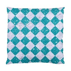 Square2 White Marble & Turquoise Glitter Standard Cushion Case (two Sides) by trendistuff