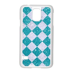 Square2 White Marble & Turquoise Glitter Samsung Galaxy S5 Case (white) by trendistuff