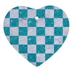 Square1 White Marble & Turquoise Glitter Heart Ornament (two Sides) by trendistuff