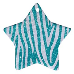 Skin4 White Marble & Turquoise Glitter (r) Star Ornament (two Sides) by trendistuff